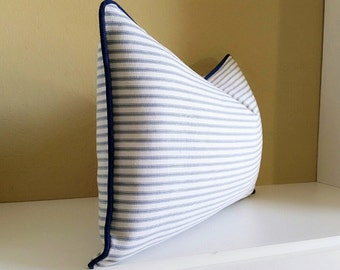 Light Blue Ticking Stripe Lumbar Pillow, Light  Blue with Navy Welting Pillow Cover - Available with trim detail or knife edge