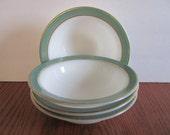 Set of 4 Pyrex Sage Green Gold Rimmed Soup Bowls Dinnerware