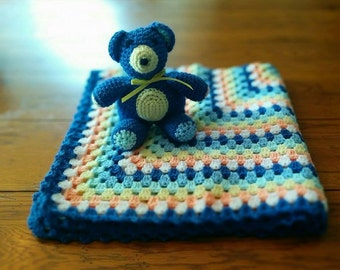 Crocheted 'Granny Square' Baby Blanket With Bear - multi color