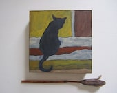 Cat Miniature Silhouette Painting on Wood Panel