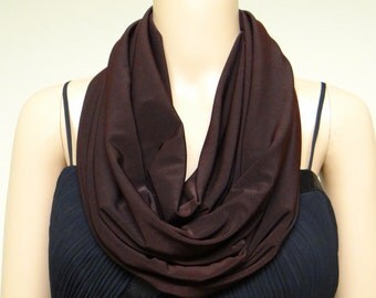 Brown Circle Scarf. Infinity Scarf. Loop Scarf. Soft Cotton Scarf.
