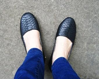 BASIC ESPADRILLES - Jet Black Python Snakeskin Leather Shoes Espadrilles