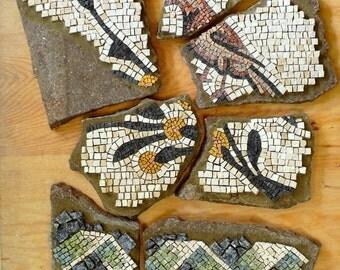 mosaic art / stone mosaic / antique mosaic / mosaic pieces on stone / bird, fall trend / red white black / home decor, decor