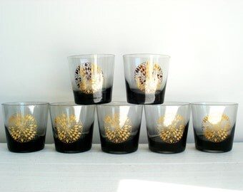 Vintage Glasses Set of 8 Topaz Glass and Gold Metallic Atomic Glassware