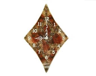 Vintage Clock Petrified Wood Sparkle Resin Hanging Wall Clock