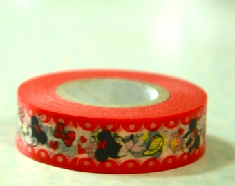 1 Roll of Japanese Washi Tape Roll-  Mickey and Minnie Mouse