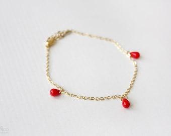 tiny red drops minimalist bracelet . dainty, layering jewelry  / spring summer jewelry
