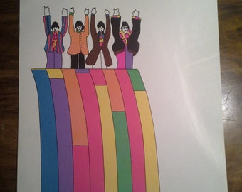 """Vintage The Beatles  stationary  from Yellow Submarine movie   4 sheets of 8"""" x 10 """" paper"""