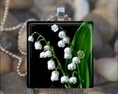 LILY OF the VALLEY Easter Flowers Lilies Spring Floral Glass Tile Pendant Necklace Keyring