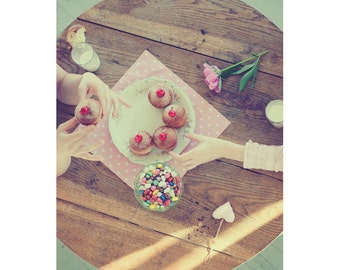 Cupcakes Postcard, Flower, Pastel Photograph, Pink Dreamy Fine Art Print, Friendship, Girls, Party, Peony Photography