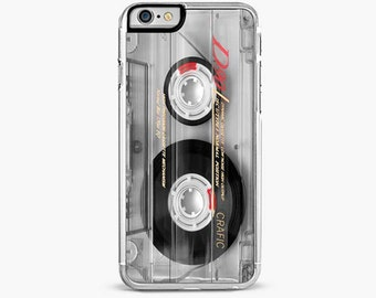 iPhone 7 Case, iPhone 7 Plus Case, Clear Vintage Mix Tape  , iPhone 6s case, iPhone 6 plus cover
