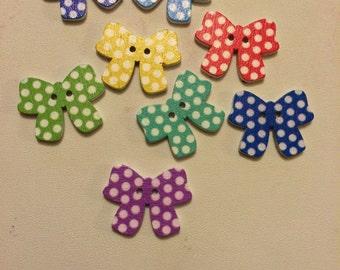 Polka Dot Bow Sewing Craft Scrapbook buttons - 9 pcs
