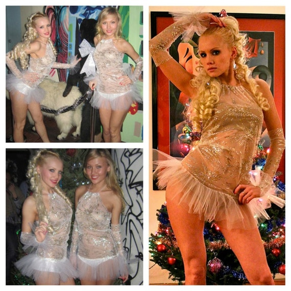 SALE Sexy Snowflake go go club dance showgirl tutu dress costume decorated with pearls, gold  and silver glitter