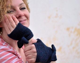 Bow fingerless gloves, knit mittens, indigo blue crochet wristwarmers