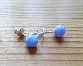 opal, tiny opal studs, opal stud earrings, blue opal sterling silver earrings