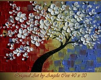 Original  Modern Multicolored White Tree  Impasto Palette Knife Fine Art landscape Painting. Size 40 x 30