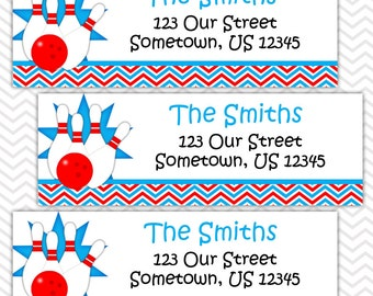 Bowling Blue - Personalized Address labels, Stickers