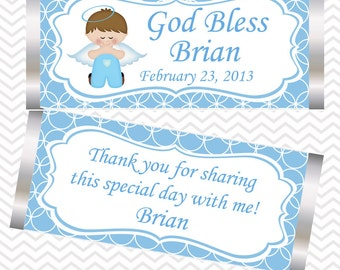 Kneeling Angel Boy Baptism Christening First Holy Communion - Personalized Candy Bar Wrapper