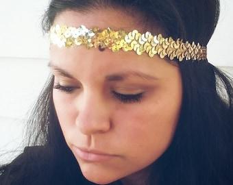 Gold Sequins Headband/ Sequins Headband/ Gold Headband/ Headband/ Gift