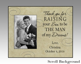 Thank you for raising your son, personalized wedding picture frame, wedding picture frame, parent wedding gift, parent wedding frame