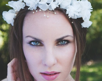 Camille #318 Silk chiffon bridal flower crown with pearls