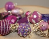 Long Beaded Necklace- Purple, Pink and Silver Mixed Beads- One of a Kind