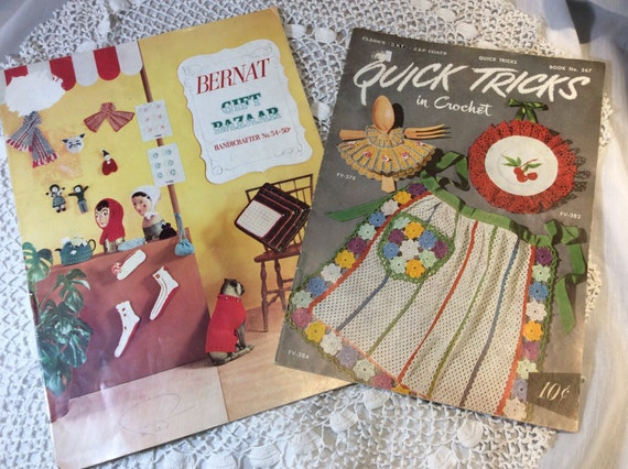 Knitting And Crochet Pattern Books : 1950s Knitting and Crochet Pattern Books Set of Two Bernat