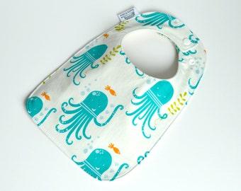 Organic bib, Baby Bib, Organic baby bib, Octopus Bib, Under the sea, Organic, gender neutral baby, organic bib