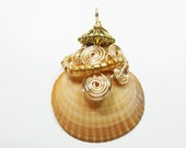 Wire Wrapped Shell Pendant,  Beaded Shell Pendant, Ocean Shell Pendant, Shell Pendant