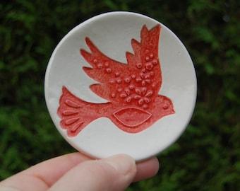 Handmade Ring Dish Pottery UK Dove Jewellery Storage