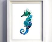 Teal turquoise navy blue mosaic seahorse sea horse wall art nautical wall decor sea animals modern wall art minimalist art decor nursery art