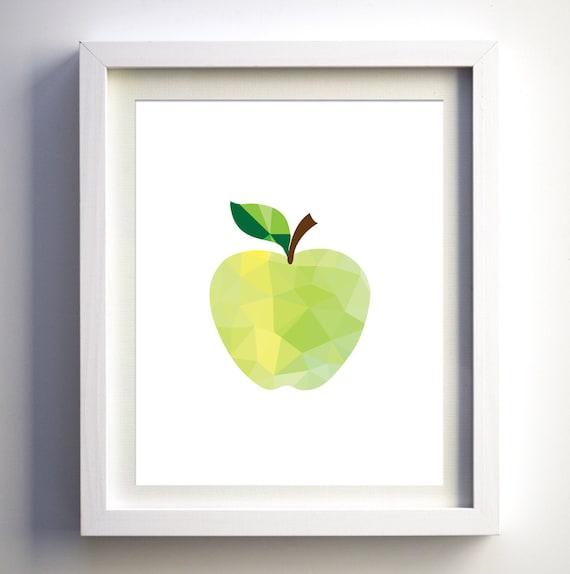 Green apple kitchen print modern kitchen wall decor restaurant - Green apple kitchen decor ...