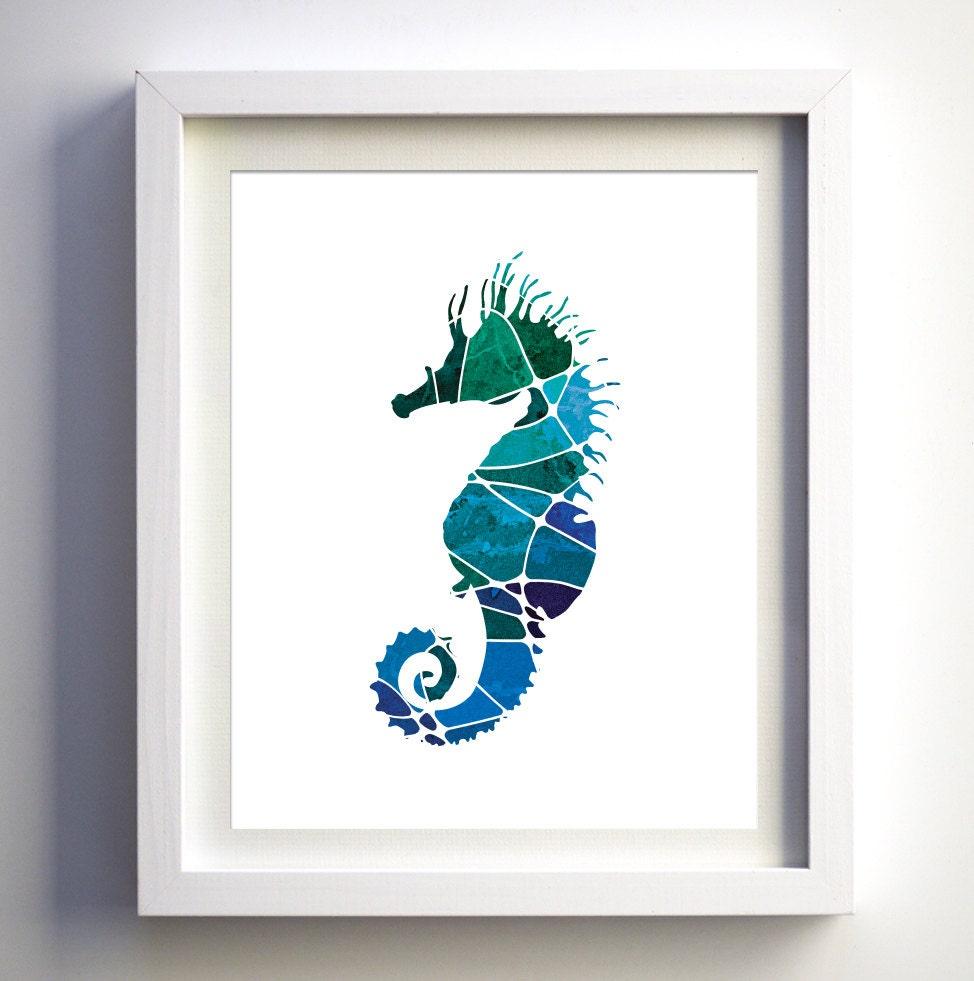 Teal Turquoise Navy Blue Mosaic Seahorse Sea Horse Wall Art