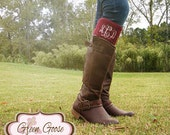 Monogrammed Boot Cuff Topper - Boot Topper - 6 Colors - Monogrammed Gift
