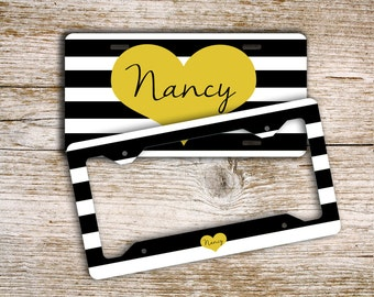 monogram license plate or frame black and white stripes with a yellow heart matching car accessories available 1325