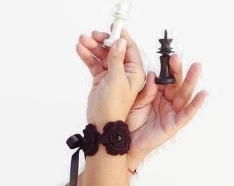 Gothic Black crochet flowered Bracelet with satin ribbon and bead ,wriststrap,headband,collar