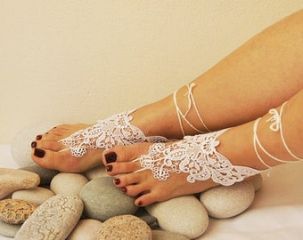 Free ship-LUX Wedding White Lace Jewelry Barefoot Sandals,Bridesmaids,Wedding Shoes