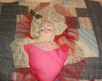 Vintage Doll Face Pin Cushion