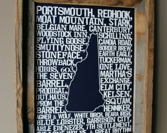 Beers Of New Hampshire Word Map Dark Blue