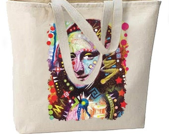 Neon Artsy Mona Lisa New Large Tote Bag Travel Events Gifts