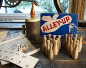 1952 Alley Up Bowling Game by William Bruce Company - Wooden Bowling Pins Dice - Very Rare Vintage 1950's Game - Trophy Cup