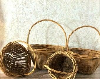 4 Vintage Nesting Baskets ~ Stacking Basket ~ Willow ~ Wicker ~ Easter Basket ~ Rustic Barn Wedding Decor