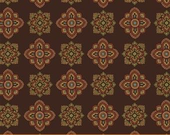 Windham Fabrics Wharton Mini Medallions on Brown Yardage - REDUCED