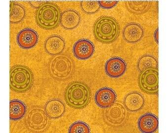 Clothworks Crush Fabric Multicolor Circles on Orange Yardage - REDUCED