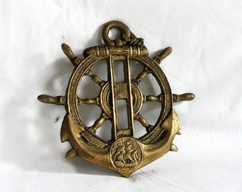 Sea ship's WHEEL & ANCHOR vintage brass wall hanging. Nautical home decor large pendant, Sailing SHIP embossed crown, Sailor's pride, fluke