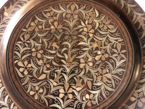 Large Vtg Copper Wall Hanging Plate Etched 13'' Dish