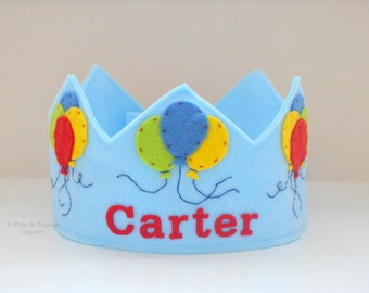 Birthday Crown, Felt Crown, Balloons, Personalized, Customized