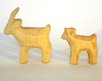 Wooden Goat with Goat-kid, Miniature carved farm animals,