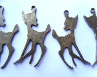 5 Antique Bronze Deer Bambi Silhouette Charms Pendants 38x21mm    -A4B3-1