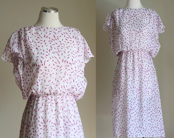 SALE: Vintage 80s Sheer Dress - White and Purple Print Short Sleeve Summer Dress - Scarlett Juniors Casual Below the Knee Dress - Size Small